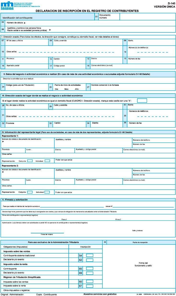 Declaración de inscripción en el registro de contribuyentes